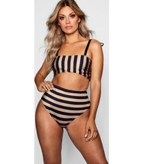 plus tonal stripe bow high waist bikini set, black