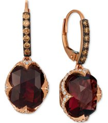 le vian raspberry rhodolite garnet (9-5/8 ct. t.w.) & diamond (3/4 ct. t.w.) drop earrings in 14k rose gold