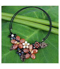 cultured pearl and onyx flower choker, 'ginger bouquet' (thailand)