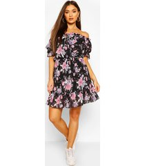 floral off shoulder ruffle detail midi dress, black
