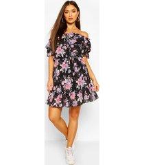 floral off shoulder ruffle detail midi dress, black