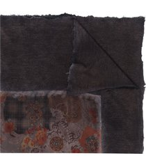 avant toi paisley embroidered cashmere scarf - grey