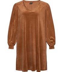 dress long plus puff sleeves velour v-neck kort klänning brun zizzi