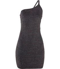 vestido john john curto um ombro mix stripes malha preto feminino (preto, gg)