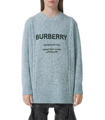 mabel burberry horseferry logo oversize wool & cotton sweater, size x-large in pale blue at nordstrom