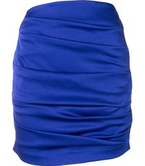 alex perry turner draped mini skirt - blue