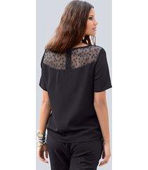 blus med infällning i mesh alba moda svart