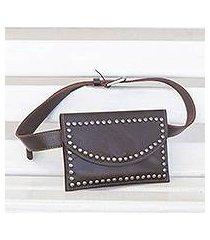 leather waist bag, 'studded espresso' (brazil)
