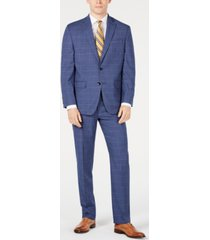 club room men's classic-fit stretch windowpane sharkskin suit, created for macy's