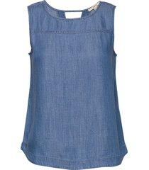 blouses denim blus ärmlös blå esprit casual