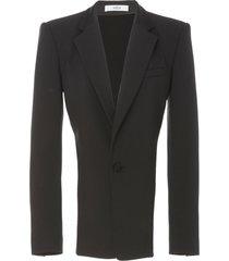 black crystal trim open back blazer