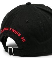 dsquared2 logo-patch distressed baseball cap - black