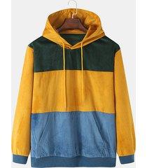 sudadera con capucha casual de pana de patchwork con bloques de color para hombre