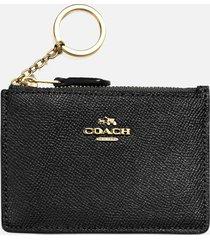 coach women's crossgrain mini skinny id wallet - black