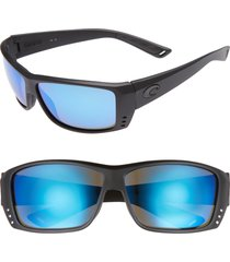 costa del mar cat cay 60mm polarized sunglasses in blackout/blue mirror at nordstrom