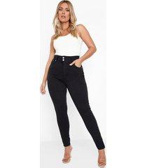 plus skinny jeans met corrigerende taille band, black
