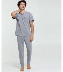 pijama chopp viés manga curta masculino