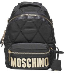 moschino medium quilted logo backpack