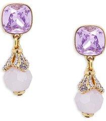 heidi daus women's goldtone & crystal cushion dangle earrings