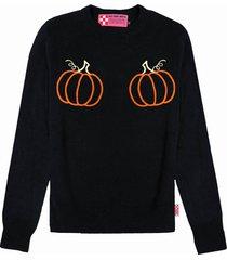 mc2 saint barth black woman sweater pumpkins embroidery