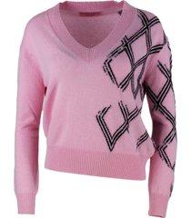ermanno scervino cashmere blend v-neck sweater with crystal application