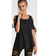 black lace-up design round neck short sleeves t-shirts