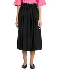 gathered waist midi skirt