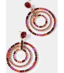 lea layered baguette circle drop earrings - magenta