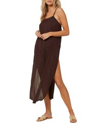 women's o'neill layna cover-up midi dress, size small - brown