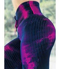 leggings de cintura con cordón y teñido anudado