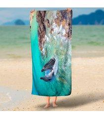 charming-ocean-nautical-dolphin-sea-tide-3d-beach-throw-towels-funny-round-beach