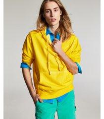 sun + stone men's garment-washed fleece hoodie, created for macy's