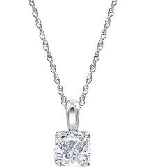 14k white gold & 1 tcw lab-grown diamond solitaire pendant necklace