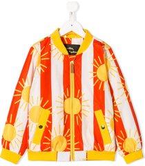 mini rodini sun and striped print bomber jacket - yellow