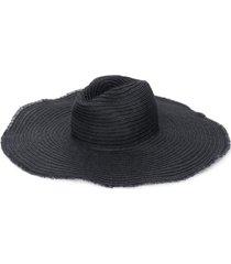emporio armani chapéu com acabamento desfiado - preto
