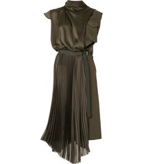sacai asymmetric satin military dress - green