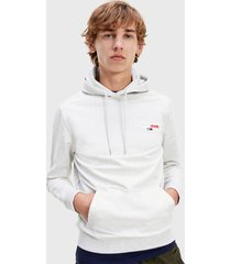 polerón tommy jeans tjm tommy chest graphic hoodie gris - calce regular