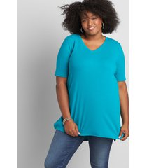 lane bryant women's perfect sleeve v-neck tunic top 22/24 blue grass