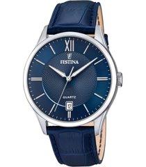 reloj acero clasico azul acero festina