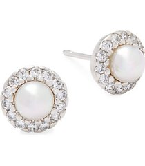 5mm white pearl & sterling silver halo stud earrings