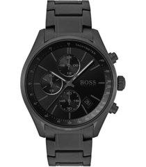 boss men's chronograph grand prix black stainless steel bracelet watch 44mm