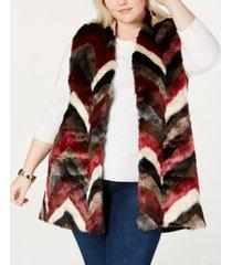 joseph a plus size faux-fur patchwork vest