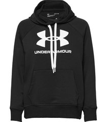 rival fleece logo hoodie hoodie trui zwart under armour