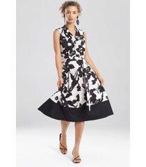 natori anemone garden sleeveless dress, women's, black, cotton, size l natori