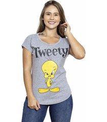 camiseta sideway looney tunes piu piu - cinza