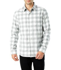 men's 7 diamonds sparrow trim fit flannel shirt, size xx-large - grey