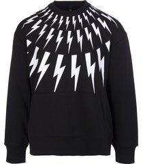 neil barrett man black fair-isle thunderbolt sweatshirt