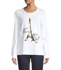 karl lagerfeld paris women's metallic eiffel tower graphic top - white - size xxs