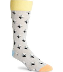 men's fun socks diamond pattern socks, size one size - grey