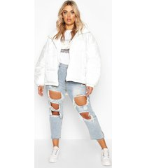 plus hooded funnel neck puffer jacket, white